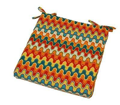 In / Outdoor Foam Seat Cushion w/ Ties - Red Teal Flame Stit