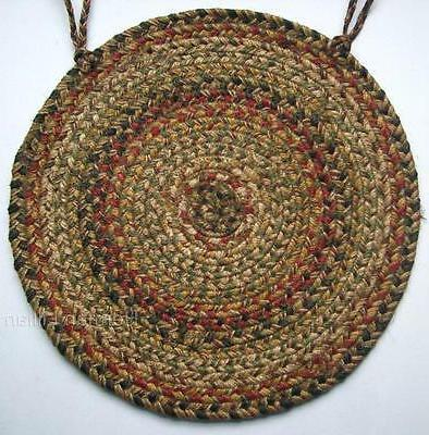 """Homespice Decor KINGSTON Braided Jute 15"""" Chair Pad with Tie"""