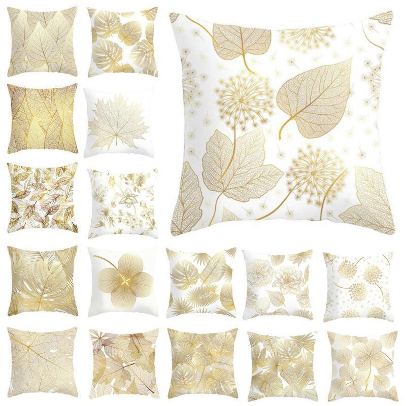 leaves print cushion cover seat sofa waist