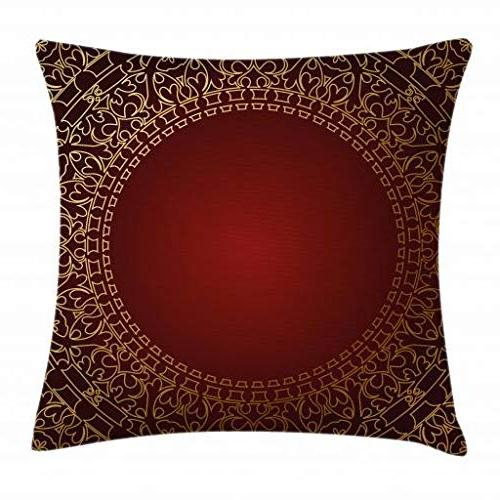 Ambesonne Maroon Cushion with Eastern Retro Square Accent 20 X 20 Earth Yellow Pale Ruby