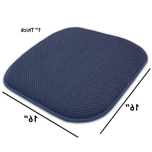 "Sweet Home Collection Memory Foam Pattern Non Skid Rubber Ultimate Comfort and Softness Rounded 16"" x 16"" Seat Pack, Piece"
