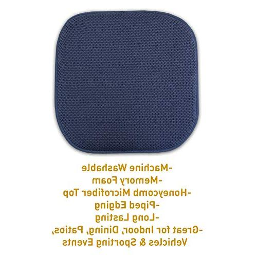 "Sweet Foam Chair Cushion Honeycomb Pattern Non Ultimate Comfort and Rounded Square 16"" 16"" Seat Pack, Navy Blue, Piece"
