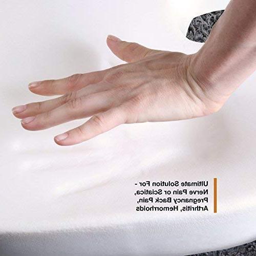Memory Foam Pillow Seat Cushion Prolonged Sitting in Car Relief Lumbar, Pregnancy, Hemorrhoids, Back Pain,