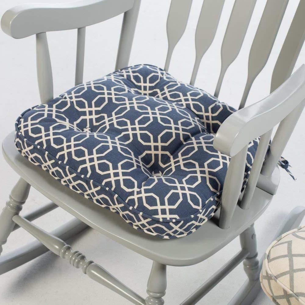 Navy Blue Modern Geometric Print Rocking Chair Seat Cushion