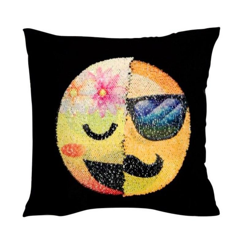 New Sofa <font><b>Cushion</b></font> Cover Sequin Cute Face <font><b>x</b></font> <font><b>16</b></font> inches