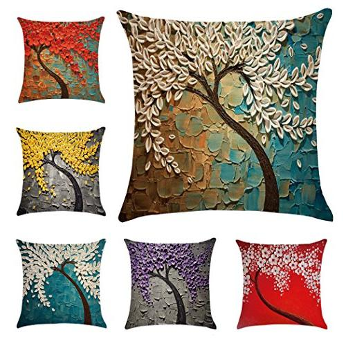 6 Pack Painting Cotton Linen Throw Case Cover 18 Inch