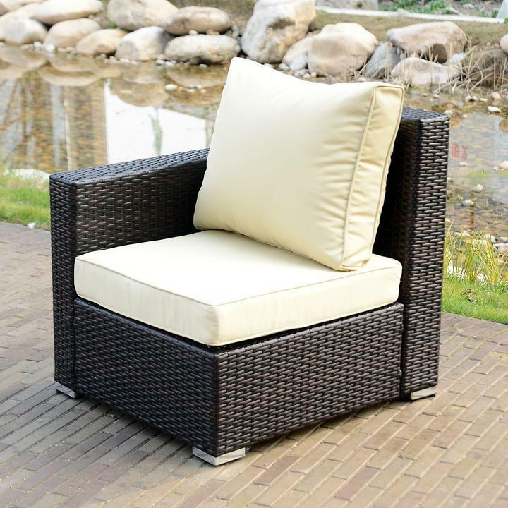 Option Outdoor Patio Couch Rattan Sectional Sofa Cushioned