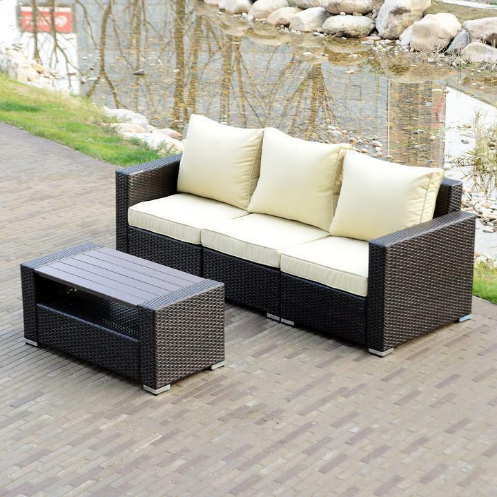 Option Furniture Couch Wicker Sofa Cushioned