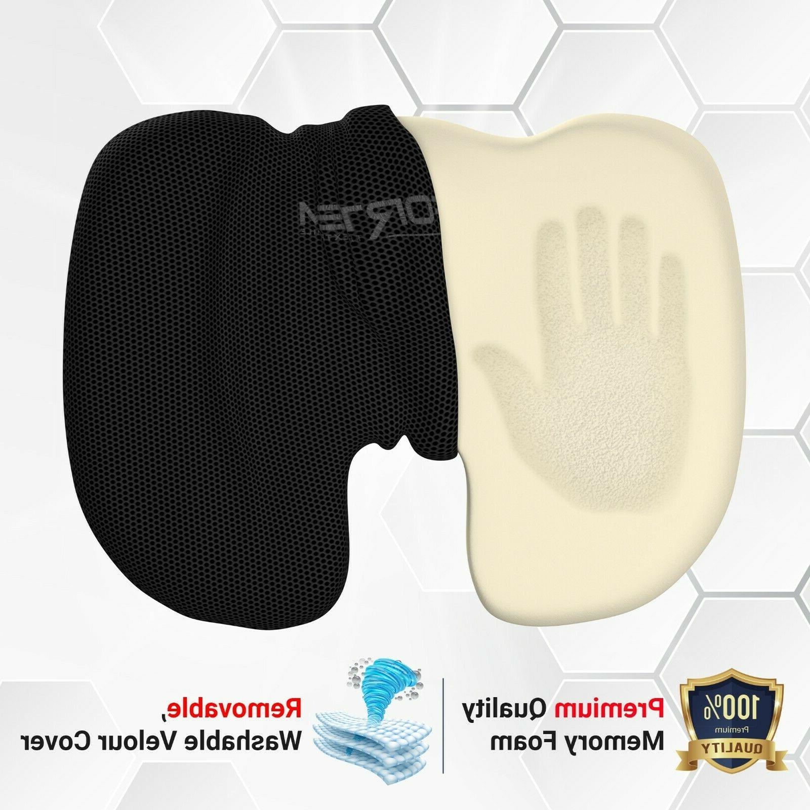 FORTEM Seat Cushion, Orthopedic Memory Foam Support, Washable Cover