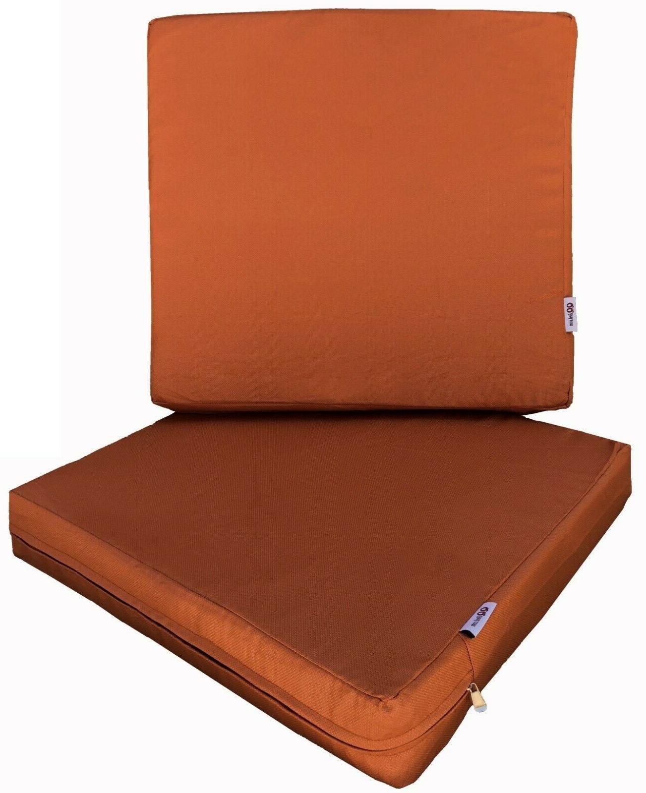 "Outdoor Seat Cushions Memory Foam 20""X18""X4"" Waterproof"