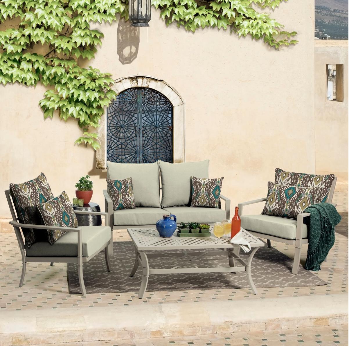 Outdoor Patio Cushions Beige UV Resistant
