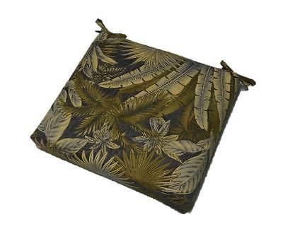 Outdoor Foam Seat Cushion w/ Ties Ocean Blue Palm Leaf - Cho