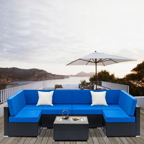 outdoor patio furniture couch 7pcs wicker rattan