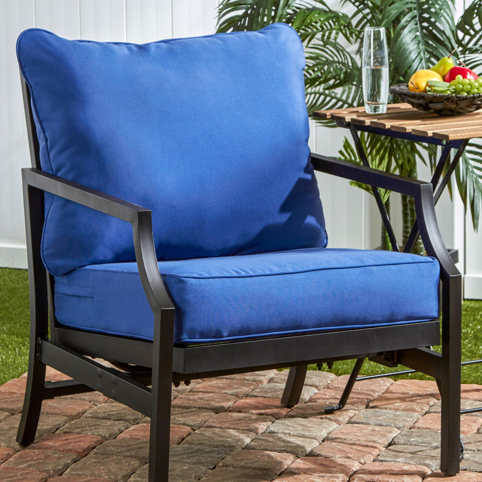 outdoor solid deep seat cushion set blue