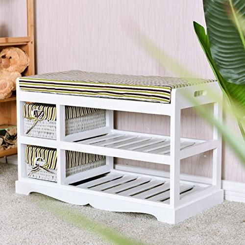 GJH Storage Organizer Shelf Bench 28'' 18''