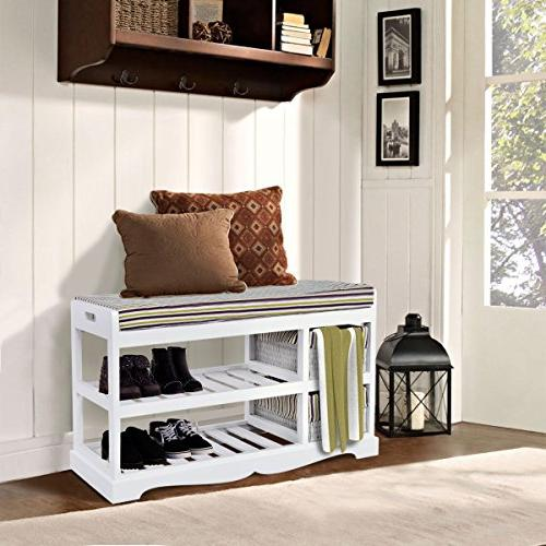 GJH Shoe Storage Bench Organizer Shelf Entryway Hallway Bench 28'' 18''