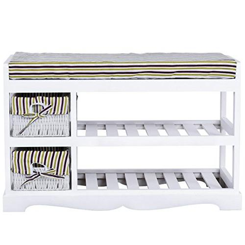 padded storage bench rack shelf