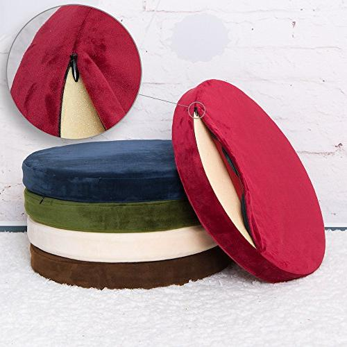 Shinnwa Polyester Soft Cushion Round MemoryFoam Seat Cushion Plush Home White