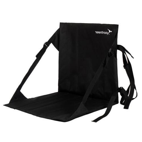 Black Stadium Bleacher Cushion Chair, Padded Folding Sports Seats