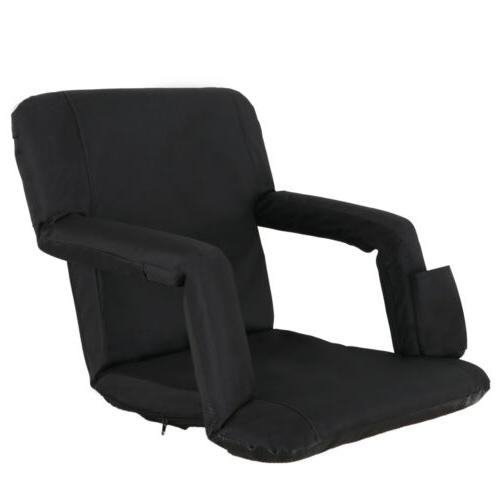Portable Stadium Seat Chair Reclining Black Bleacher Padded