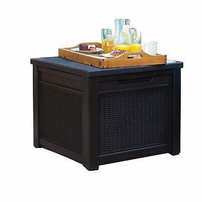 rattan storage cube patio table