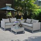 4PCS  Rattan Wicker Patio Sofa Cushion Seat Set Furniture La