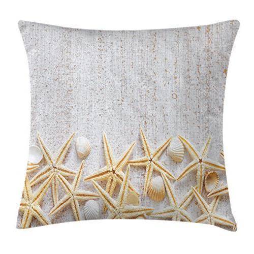 Ambesonne Seashells Pillow Cushion Sea Shells on Pattern Tropical Honeymoon Classic Theme, Pillow X 26 Inches,