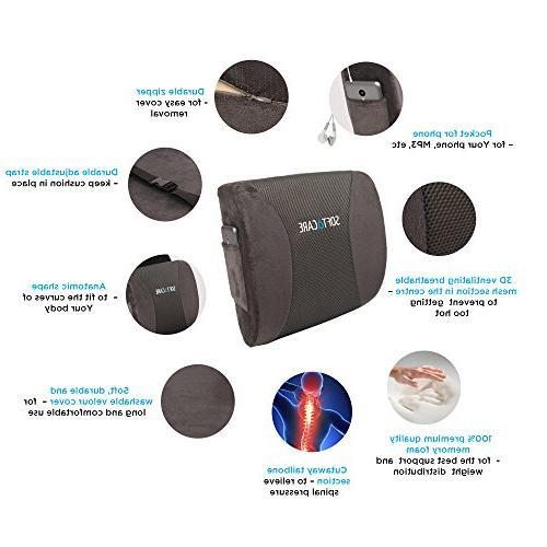SOFTaCARE Seat Orthopedic Memory Foam Lumbar of 2, Dark