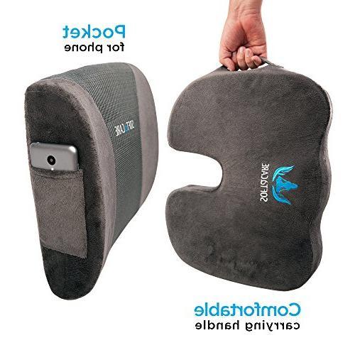 SOFTaCARE Seat Orthopedic Memory and Lumbar Support of 2, Dark Gray