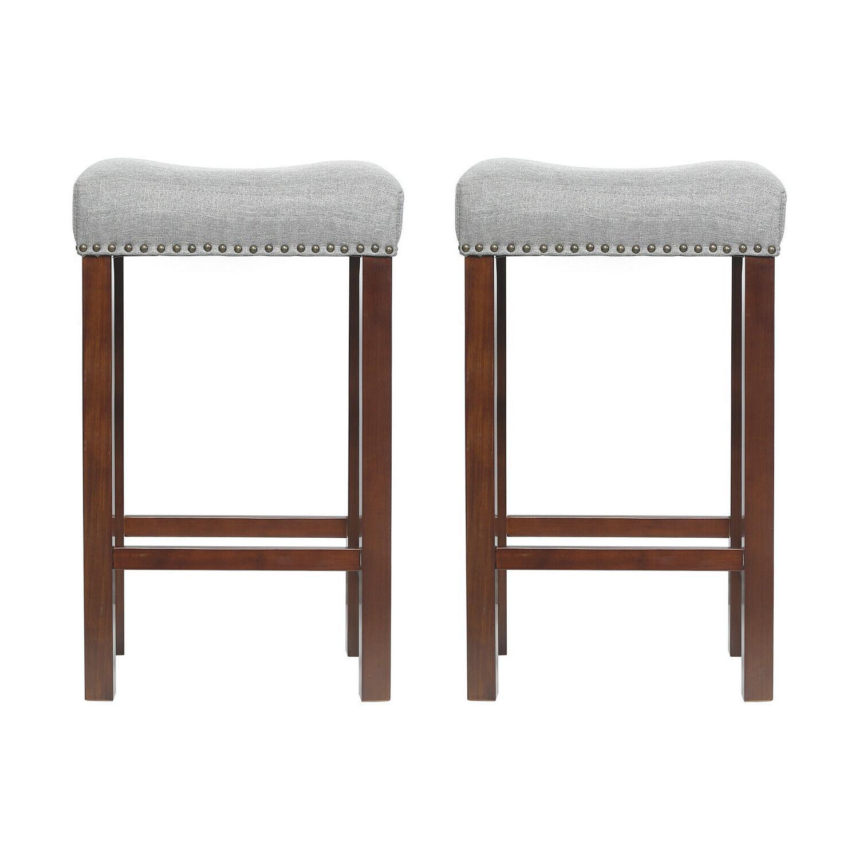 Set 2 Stool Wood PU Padded Cushion Seat Dining Pub Chair