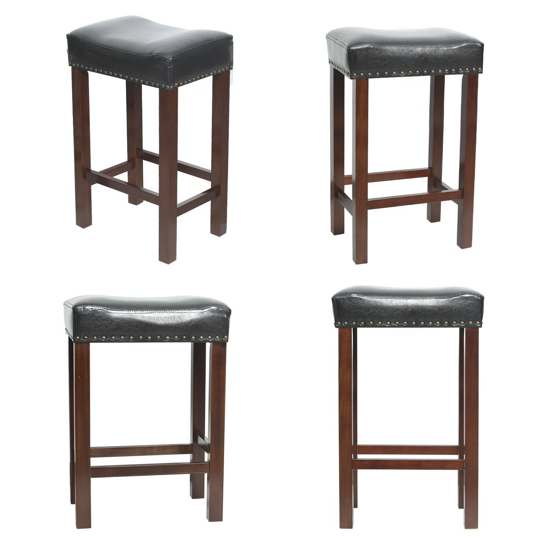 Set Stool Wood PU Dining Pub Bar Chair