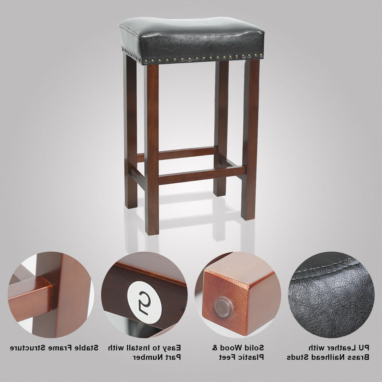 Set 2 Stool Legs PU Padded Cushion Dining Pub