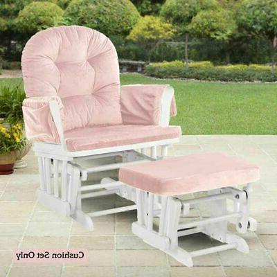 Set 2 Chair Ottoman Replacement Pink Cushion Washable