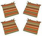 "Set of 4 - 2"" Foam Chair Seat Cushions w/Ties Red Orange Tea"