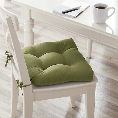 Square Seat Tuft Cushion Pads w/ Ties Dining Chair Pack 6
