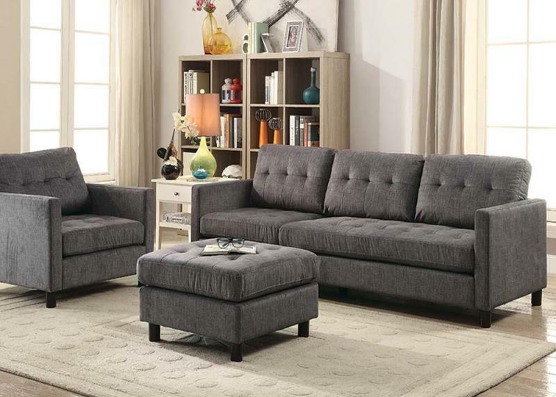 Sofa w/Ottoman Chair Style Furniture Loose Seat Back