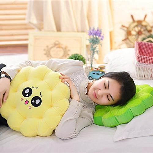 M Soft Short Plush Round Flower Cushion Office - x Pink