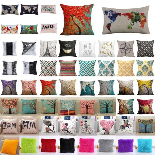 Square Linen Cotton Cushion Cover Pillow Cases Throw Home US