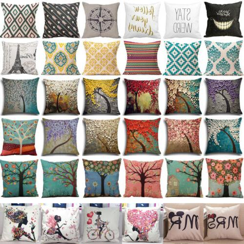 square linen cotton cushion cover pillow cases