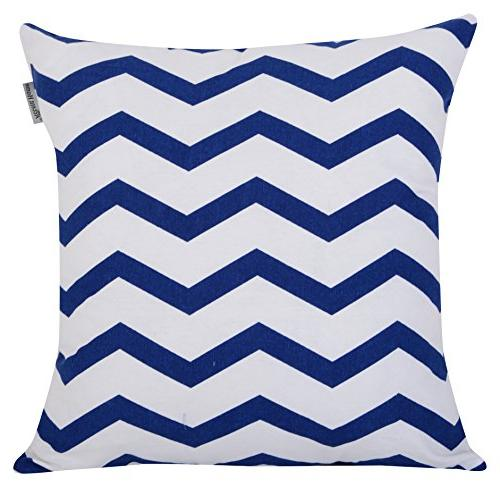 ACCENTHOME Home Printed Pillow Pillowslip for Couch Chair Back Pack 18x18 in Blue