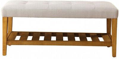 storage bench seat padded cushion shoe rack