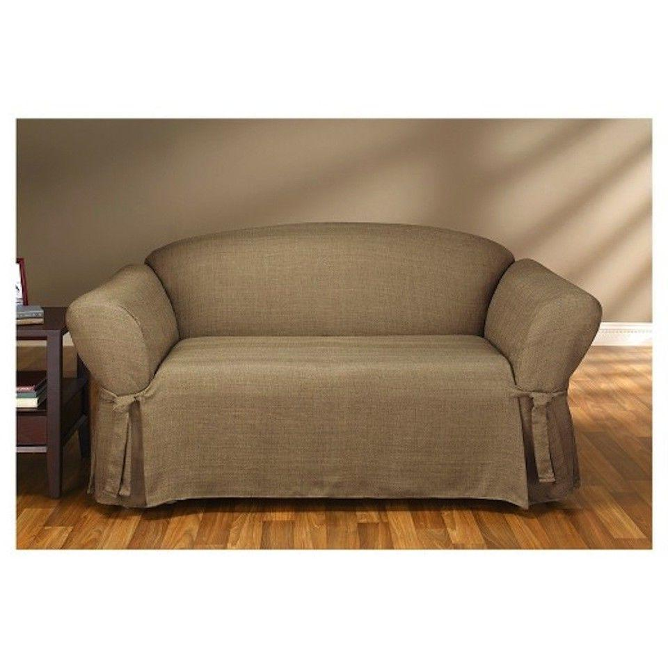 Sure Fit Sofa Slipcover Mason Collection in Cocoa for Box St