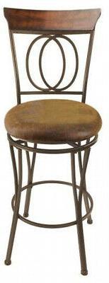 Swivel Cushioned Bar Round Dark Bronze Industrial Set of 2
