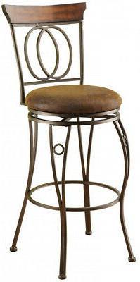 Swivel Cushioned Bar Stool Round Seat Durable Dark Bronze In