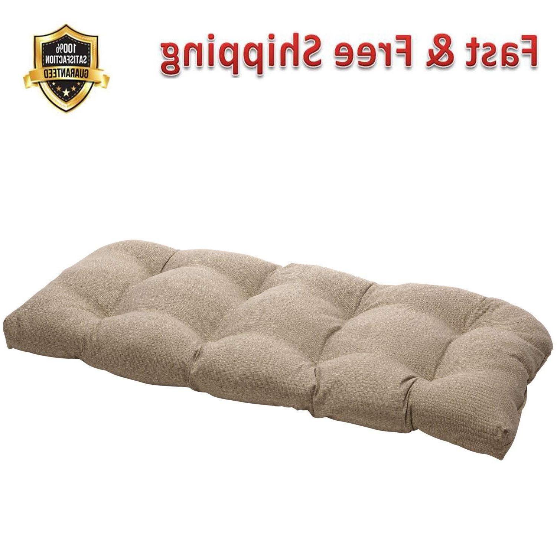 taupe textured wicker loveseat cushion indoor outdoor