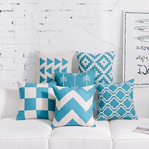 teal throw pillow covers