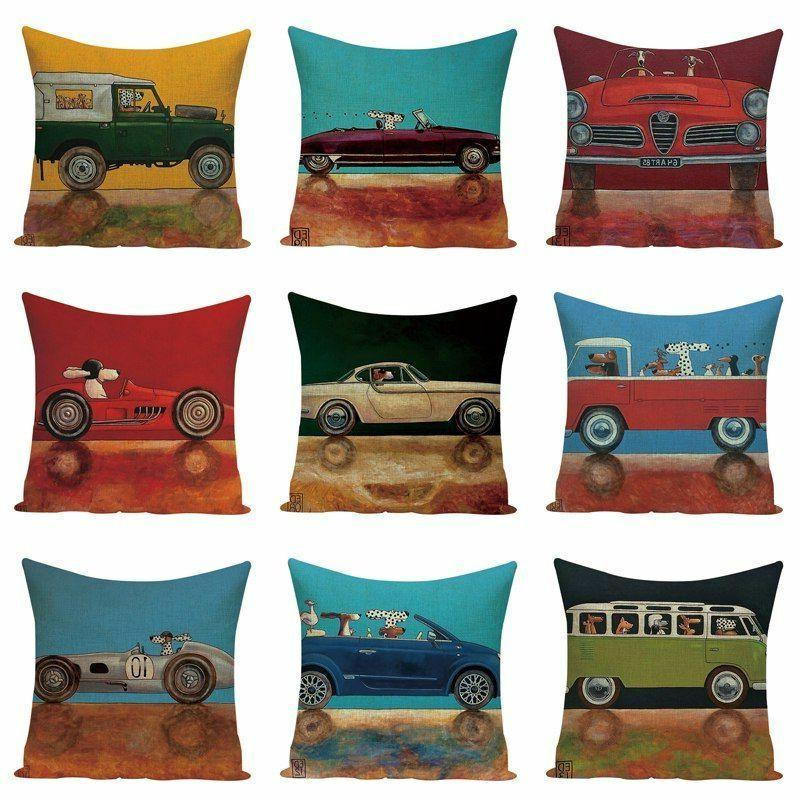 Throw Pillow Case Vintage Car Print Cushions Cover Home Deco