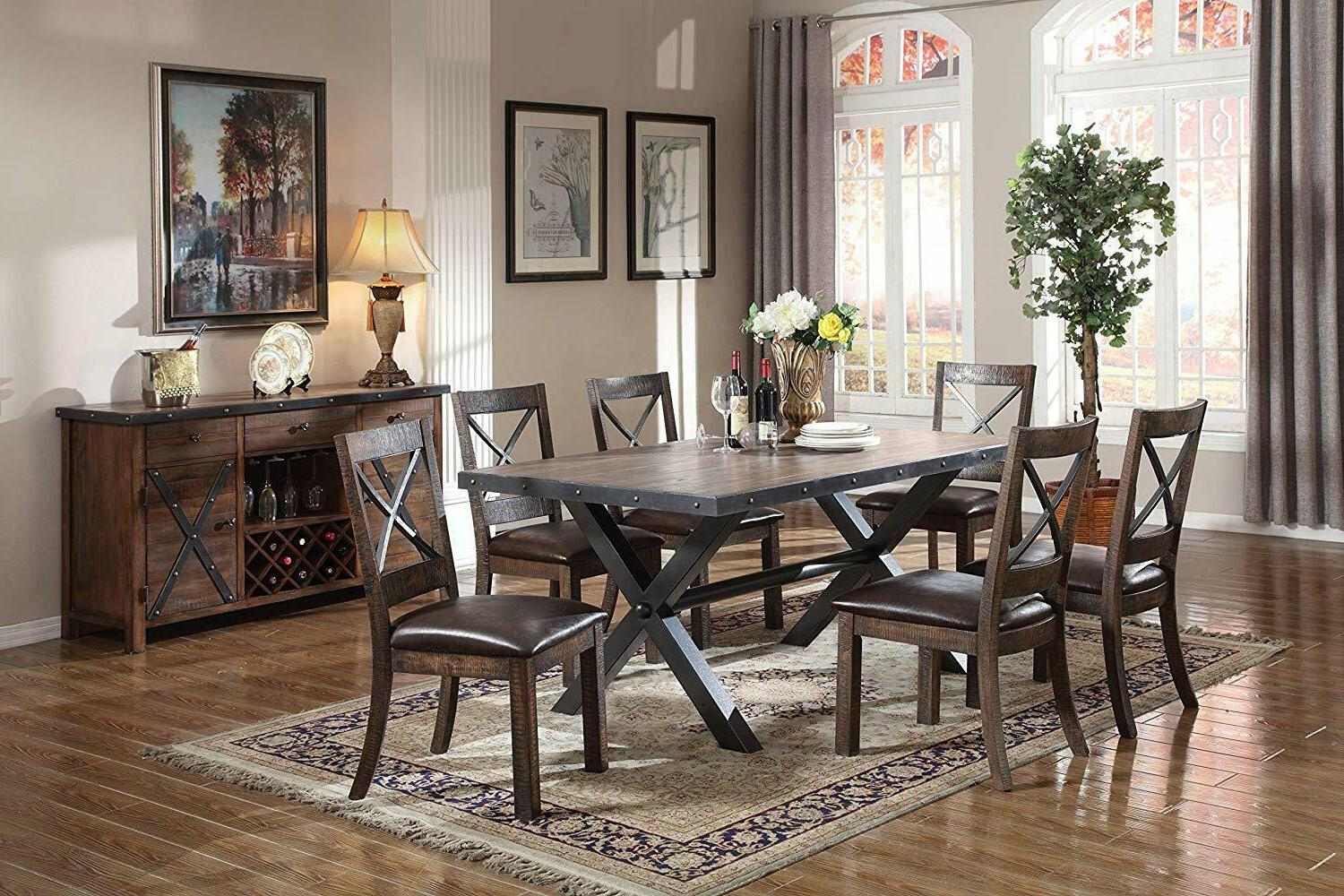 Traditional Padded Espresso PU Oak Dining 2