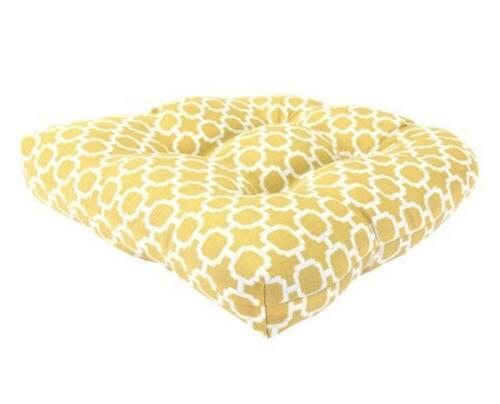 tufted wicker outdoor seat bottom cushion yellow