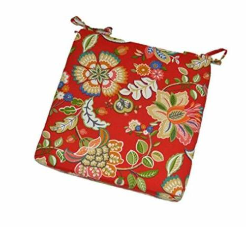 """Universal Chair Seat Cushion 2"""" Foam w/ Ties -Red - Floral P"""
